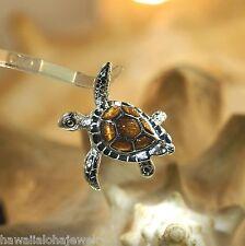 33mm Medium Sterling Silver Genuine Hawaiian Inlaid Koa Wood Sea Turtle Pendant