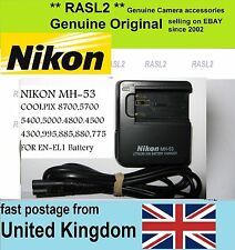Genuino, originale Nikon MH-53 charger,en-el1, Coolpix 5000 5400 5700 8700 4800