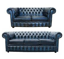 Chesterfield 3 + 2 Seater Antique Blue Leather Sofa Settee Suite