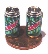 1:12 Scale 2 Empty MTN Dew Drink Tin Dolls House Miniature Bar Drink Accessory