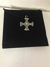 St. Cuthberts Cross R17 Pewter Pendant on a  BLACK CORD  Necklace