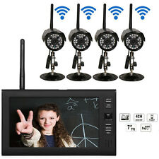 "7"" LCD Monitor Wireless Security 4 Camera System IR Night Vision DVR CCTV 2.4GHz"