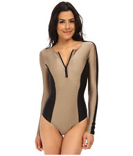 VIX BETSY LONG SLEEVE ONE PIECE ZIP WET SWIMSUIT SHITAKE BROWN SMALL NEW! $192