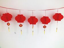 6 RED M CHINESE PVC 18cm PALACE LANTERN 4M BUNTING  BIRTHDAY NEW YEAR PARTY DECO