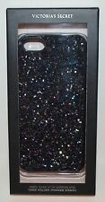 VICTORIA SECRET BLACK GLITTER IPHONE 5 5S 5C HARD CASE SLEEVE MIRROR CARD HOLDER