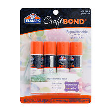 Elmer's CraftBond Repositionable Glue Sticks, Clear, Non-Toxic, Pack of 4 E4020