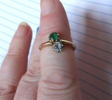 HAND CRAFTED 14 CARAT GOLD EMERALD & WHITE TOPAZ 2 STONE CROSS RING SIZE J1/2