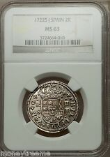 SPAIN 1722 Seville 2 REALES NGC 63 KING PHILIP Vth SILVER COIN~Almost 300 Years