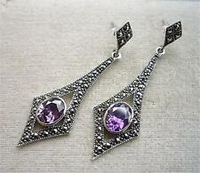 Classy Deco Inspired Amethyst CZ & Marcasite Silver Drop Earrings
