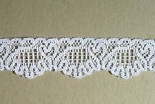 CRAFT-SEWING-LACE 2.5mtrs x 30mm White Fancy Scallop Design Lace
