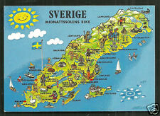 Map postcard Sweden People Costume Sverige stamp