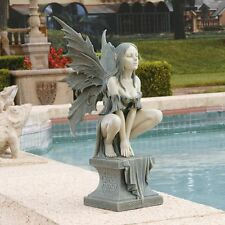 Magical Celtic Fairy on Plinth Garden Sculpture Faerie Decor Statue