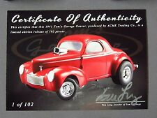 1941 GASSER TOM'S GARAGE LIMITED EDITION MADE102 ACME BLOWN HEMI CANDY APPLE RED