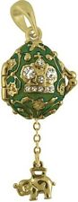 Faberge Egg Pendant / Charm with Crown & Elephant 2.1 cm green #2-1021