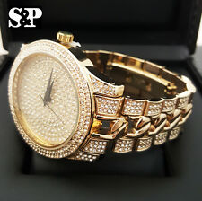 New Mens Hip Hop Gold Plated Iced Out Urban Style Bling Hip Hop Metal Band Watch