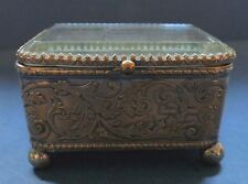 VICTORIAN GLASS TOPPED METAL CASKET - LATE 19TH CENTURY