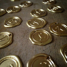 26 Alphabet Wax Seal Stamp Charms Initial Charm 24K Matte GOLD PLATED Monogram