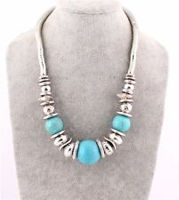 New Natural Tibet Silver Plated Bead Turquoise Gift Necklace Fashion Bib Pendant