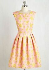 NWOT Dropping By for a Visit Dress Lemon Pink Yellow Dear Creatures Modcloth S