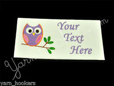 "Happy Owl - ""Iron On or  Sew In"" - Cotton Fabric Labels - Yarn Friendly"