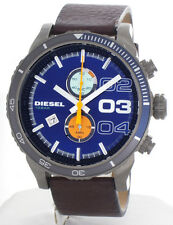 Diesel DZ-4350 Double Down Blue Dial Brown Leather Strap Chronograph Men's Watch