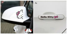 (2x Rearview Mirror+4x Door Handle)Pink Bow Black Naugty Hello Kitty Car Decals