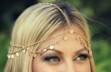 Hippie Retro Gold Tassel headband head piece chain elastic hair band (47)
