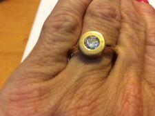 $75 Michael Kors Crystal Logo Ring Size 8 Gold Tone #500