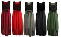 Womens Ladies Chiffon Lace Sleeveless Dip Hem High Low back Party Dress Top