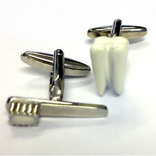 TOOTHBRUSH & TOOTH CUFFLINKS Dentist Orthodontist Dental BIRTHDAY GIFT PRESENT