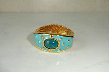 Joan Rivers Scarf Clip Clasp Turquoise Enamel Teal Green Bead Gold Toned Metal