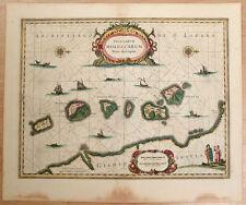 Carte c1650 JANSSONIUS in-folio map couleurs ÎLES MOLUQUES Ternate Tidor 11