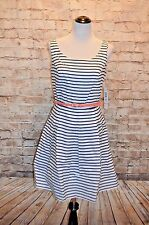 Modcloth Fair Weather Fan Dress NWT 10 Blue/white stripe Belted fit & flare