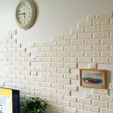 White 3D Foam Stone Brick Self-adhesive Wallpaper DIY Wall Sticker Panels Decal