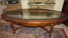 "Empire Glass Top Oval Coffee Table 60""x30""x16"" *Local Pickup Only - Houston,TX*"