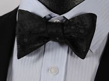 BF3001L Black Floral Check Silk Jacquard Men Classic Self Bow Tie BowTie