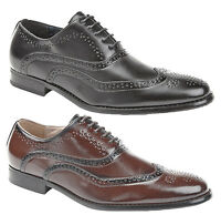 Mens Brogues Formal Dress Shoes Leather Lined Black Tan Brown Size 7 8 9 10 11