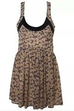 Kate Moss Topshop Pansy Floral Chiffon Velvet Trim Vtg Autumn Tea Dress 14 10 L