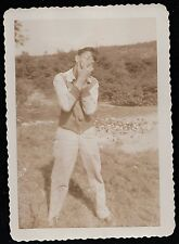 Old Vintage Antique Photograph Young Man With Glasses Hands in Face Crazy Face