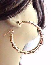 GOLD BRASS PLATED BAMBOO HOOP EARRINGS FULL HOOPS 2.25 INCH GOLD TONE