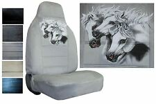 Velour Seat Covers Car Truck SUV Three White Horses High Back pp #X