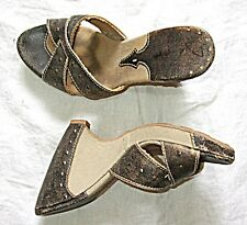 HIGH BACKLESS MULE LEATHER CANVAS STUDS GREY BUFF STEAM PUNK GOTH SHOE WEDGE 6