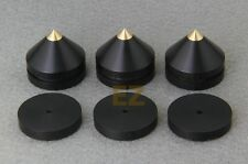 8x Ebony Wooden Speaker Copper Tip Spike Cone & 8x Base Pad Isolation Kit Set