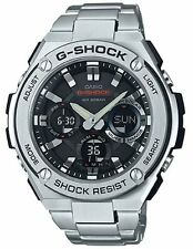 Casio GSTS110D-1A Mens G-Shock G-Steel Solar Stainless Steel Ani-Digi Watch