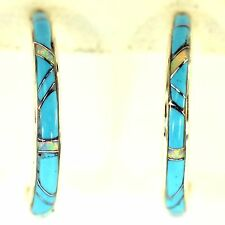 TURQUOISE & VIVID OPAL INLAY HOOP EARRINGS STERLING SILVER SOUTHWEST 1 INCH LONG