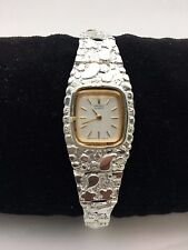 "New Women's Seiko 925 Sterling Silver Nugget Style 7.25"" Square Wrist Watch"
