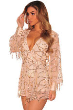 NEW Nude Pink Gold Sequin Deep V Neck Plunge Playsuit Romper Dress 8 10 12 14 UK