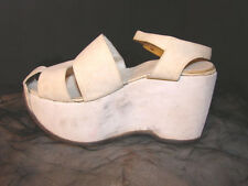 Vintage 40s WEDGE Shoes ANKLE STRAP Sandals 4.5 Kid Suede Leather White PLATFORM