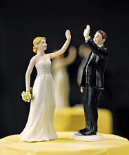 High Five Bride and Groom Funny Couple Wedding Cake Topper