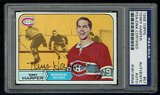 Terry Harper #57 signed autograph auto 1968 Topps Hockey Card PSA Slabbed